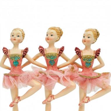 Tre Ballerine in Resina Rosa e Oro...