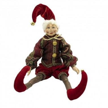 Elfo con Abito Rosso, Burgundy e Oro...