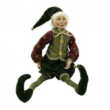 Elfo con Abito Verde e Burgundy H.43 cm
