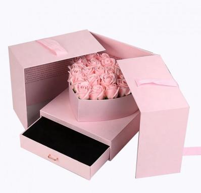 Box cuore con cassetto Rosa online