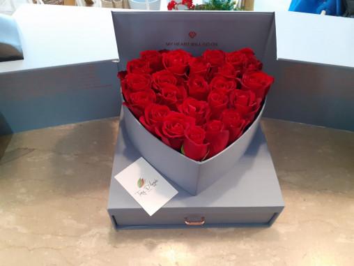 Box cuore con cassetto Grigio online