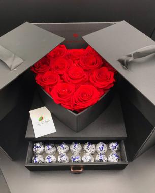Box cuore con cassetto nero Rose stabilizzate online