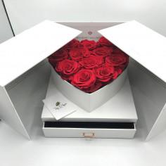 Box cuore con cassetto bianco