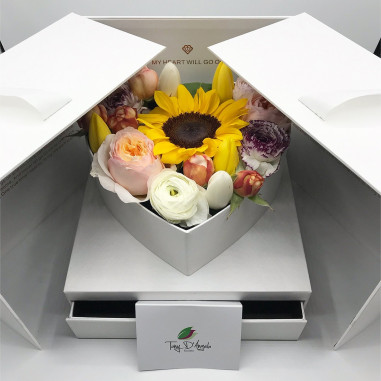 Box cuore con cassetto bianco fiori...